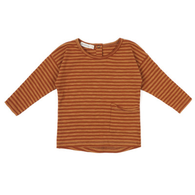 Raw-edged top stripe l/s